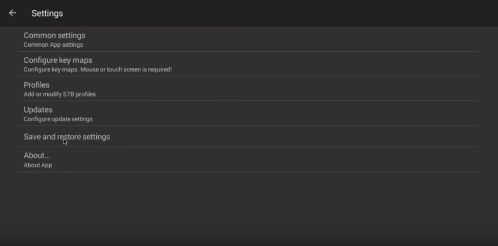 STB emulator settings