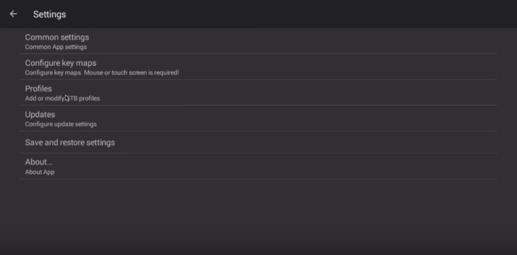 STB emulator settings menu