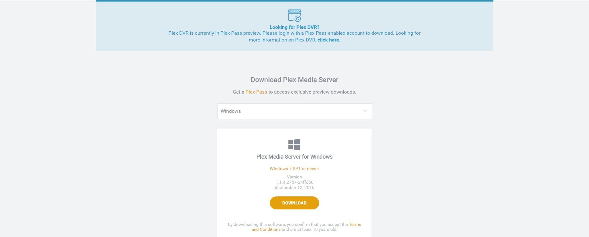 Plex download page